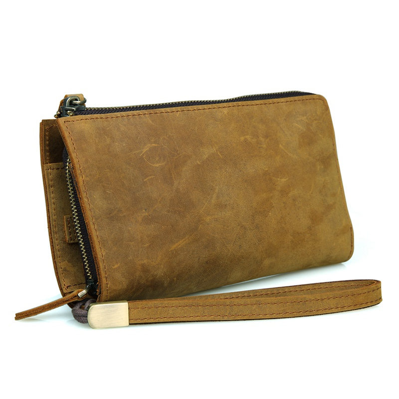 8048B-1 Crazy Horse Leather Classic Brown Yellow Men's Leather Clutch Bag