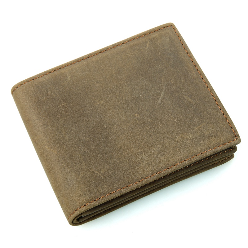 8056R-1 Vintage Leather Mens Brown Leather Pocket Wallet