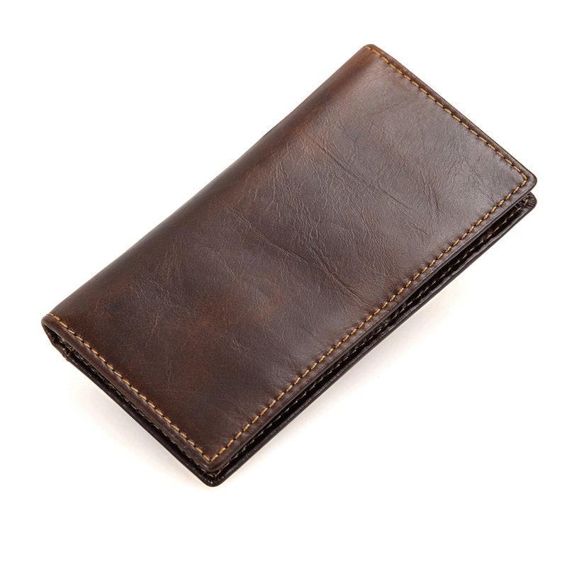 R-8119Q Coffee Cowhide Leather RFID Dollar Pocket