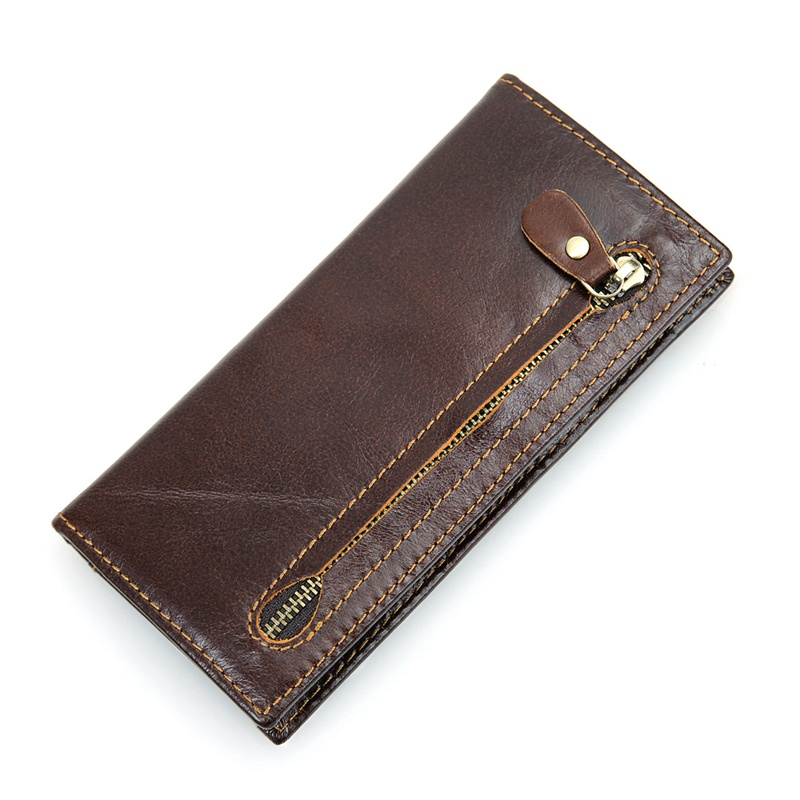 R-8122Q Hot Selling Wholesale Coffee Cowhide Leather RFID Cash Holder Supplier