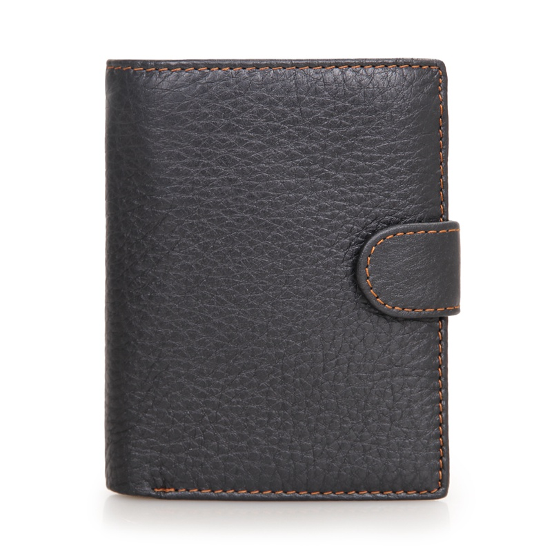 8129A Black Genuine Cowhide Pocket Wallet Leather Coin Wallet