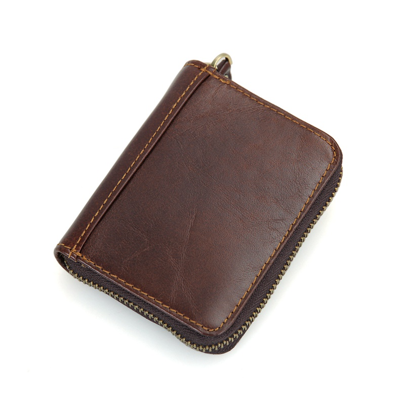 R-8117Q 100% Cowhide Leather Zipper Around Wallet Coffee Card Holder