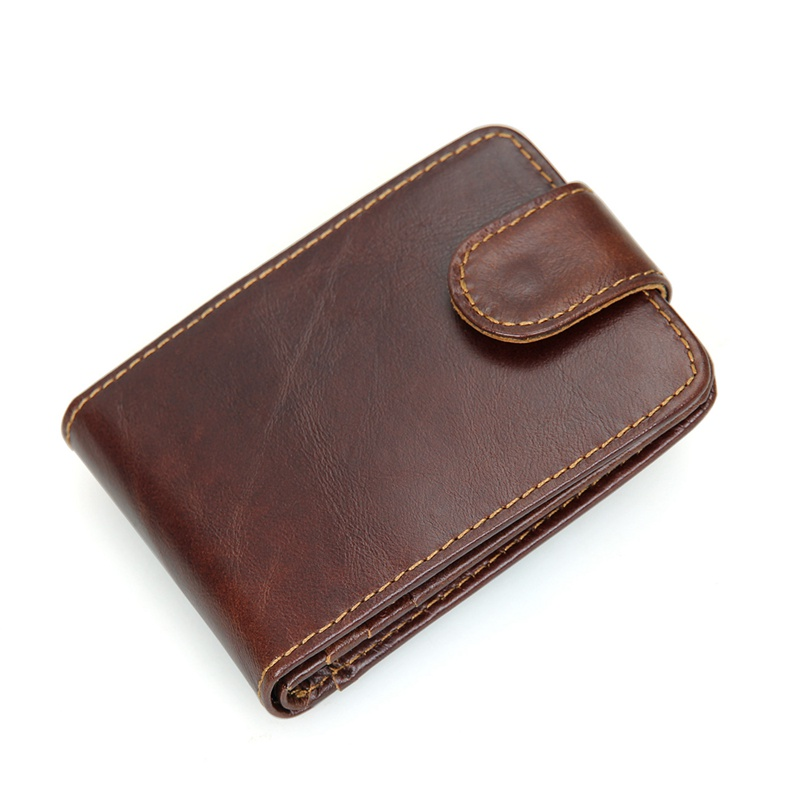 R-8121Q Coffee Cowhide Leather RFID Pocket Card Holder