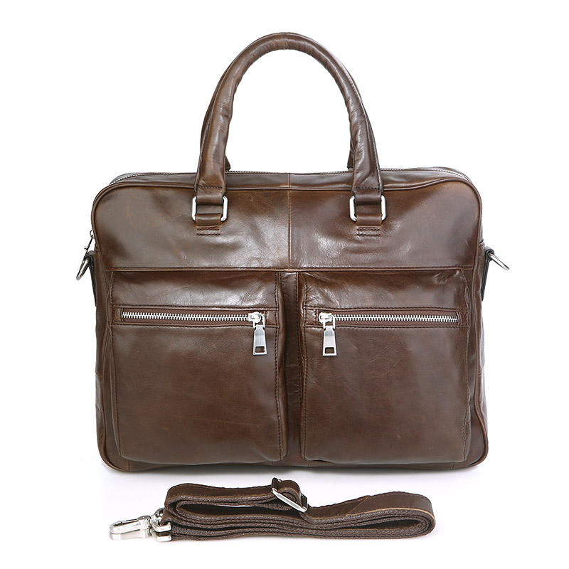 7270C-1 Brown Guarantee Genuine Cow Leather Men's Briefcase Handbag Mens Office Briefcase Laptop Bag