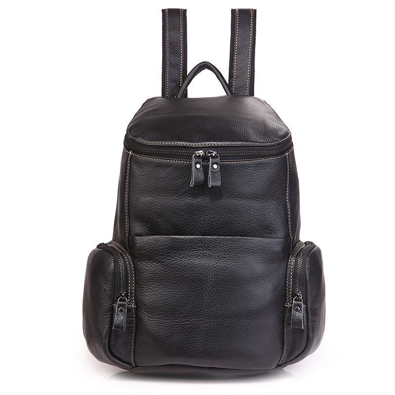 7336A Black Genuine Cow Leather Small School Backpack for Girls