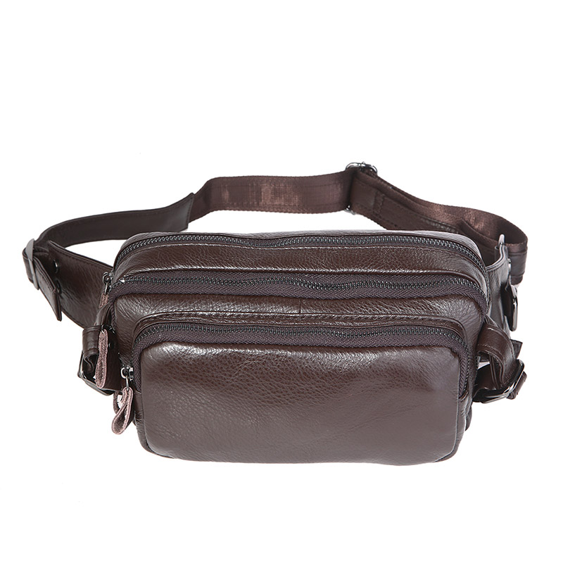 7353Q Wholesale Coffee Vintage Leather Multifunction Fanny Pack Supplier
