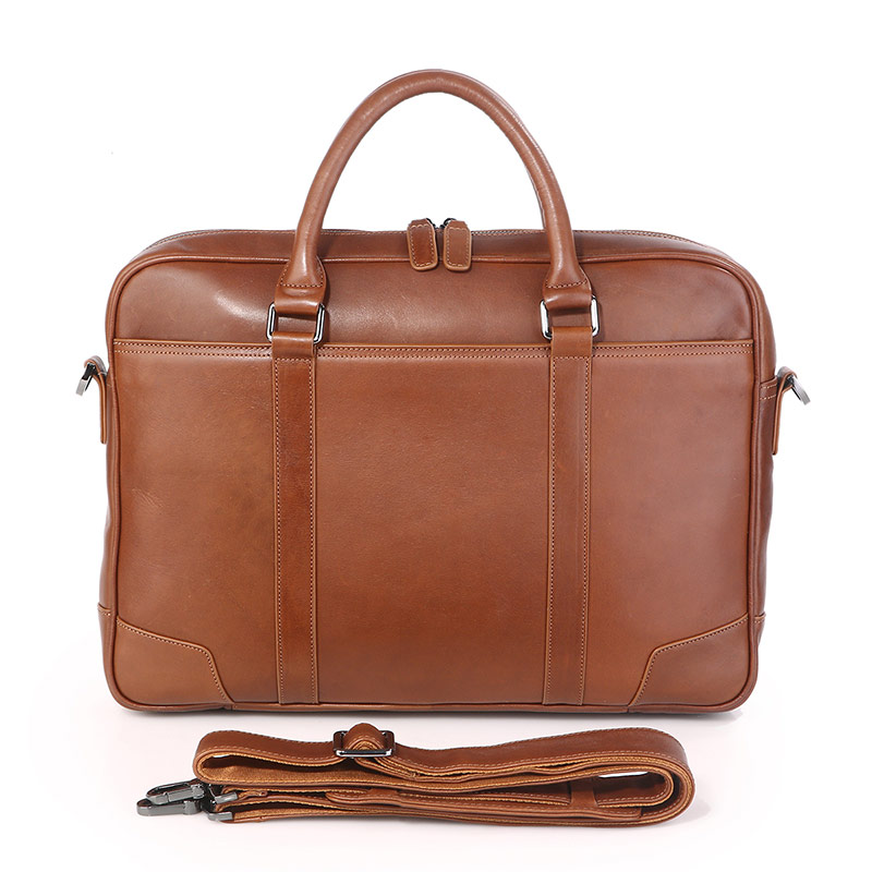 7349B Laptop Bag Handbag Men's Brown Genuine Leather Briefcase