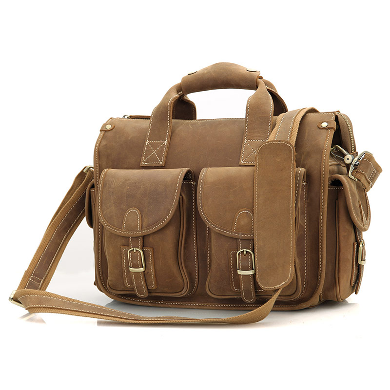 7106B Cowboy Crazy Horse Leather Men's Brown Briefcase Laptop Hand Bag Messenger Tote