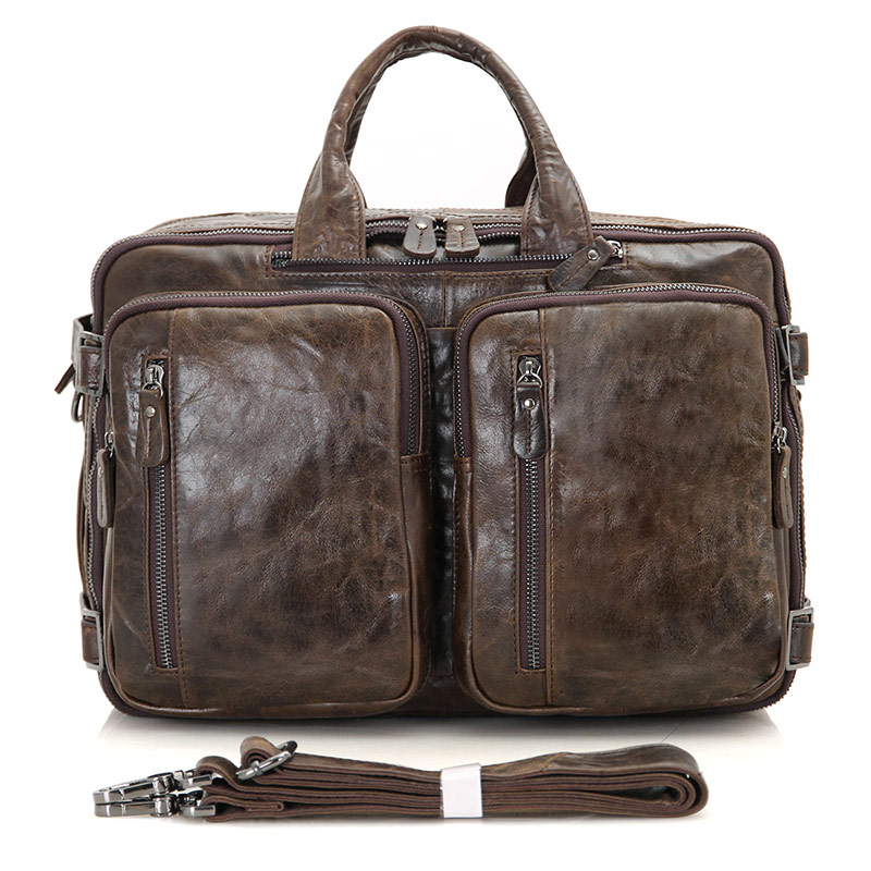7014C-1 Coffee Vintage Leather Men's Briefcase Backpack Laptop Bag