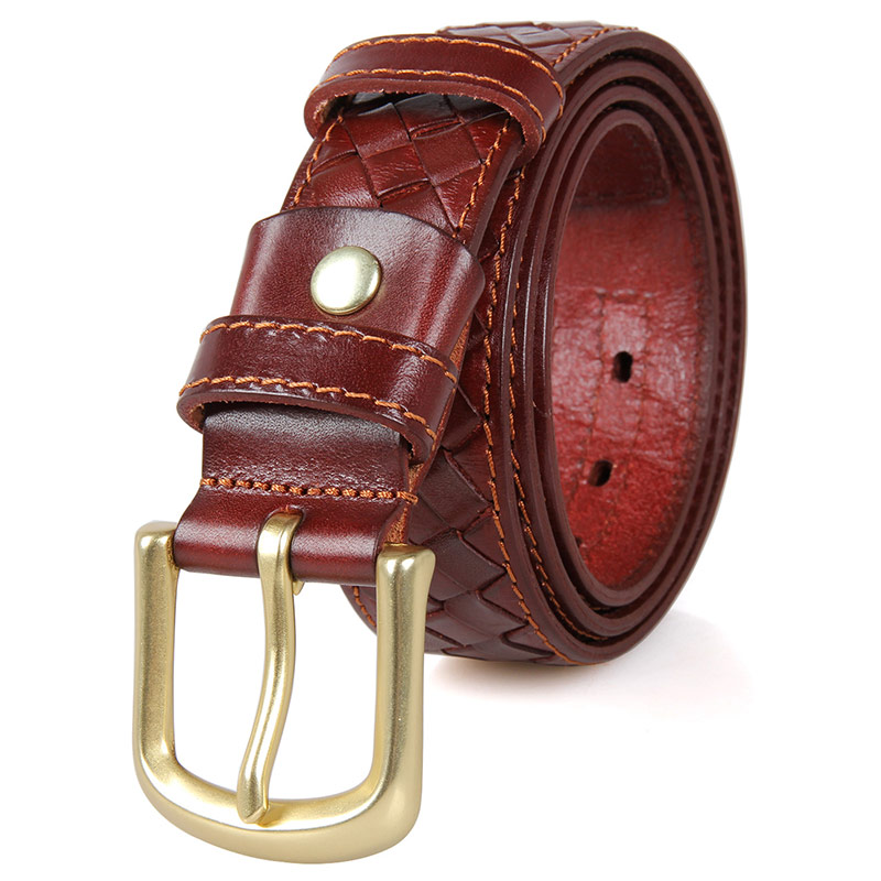 B002B New Product Durable Men Vegetable Leather Brown Belt
