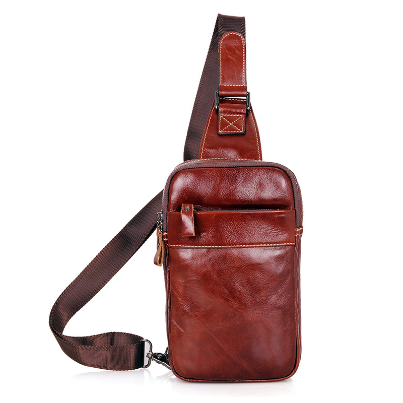 4002B Hot Selling Brown Natural Leather Funny Bag Chest Bag Sling Bag