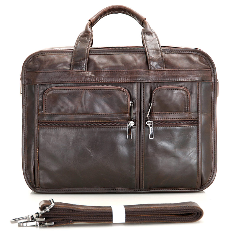 7093C 100% Genuine Vintage Leather Men's Chocolate Briefcase Messenger Laptop Bag