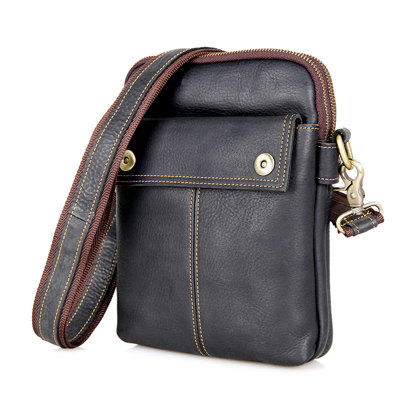 1002A Black Genuine Leather Mens Small Sling Bag Purse