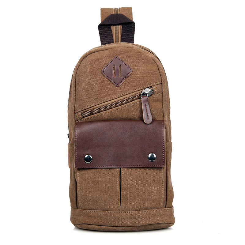 9034C Coffee Canvas Chest Bag Funny Pack Bags for Men