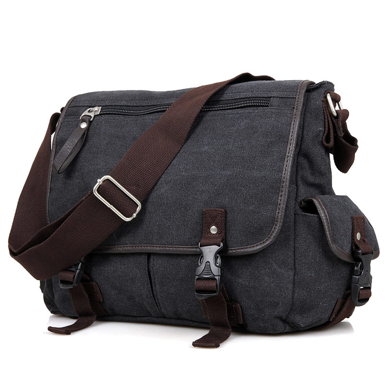 9035A Black Excellent Quality Leisure Canvas Outdoor Sling Bag