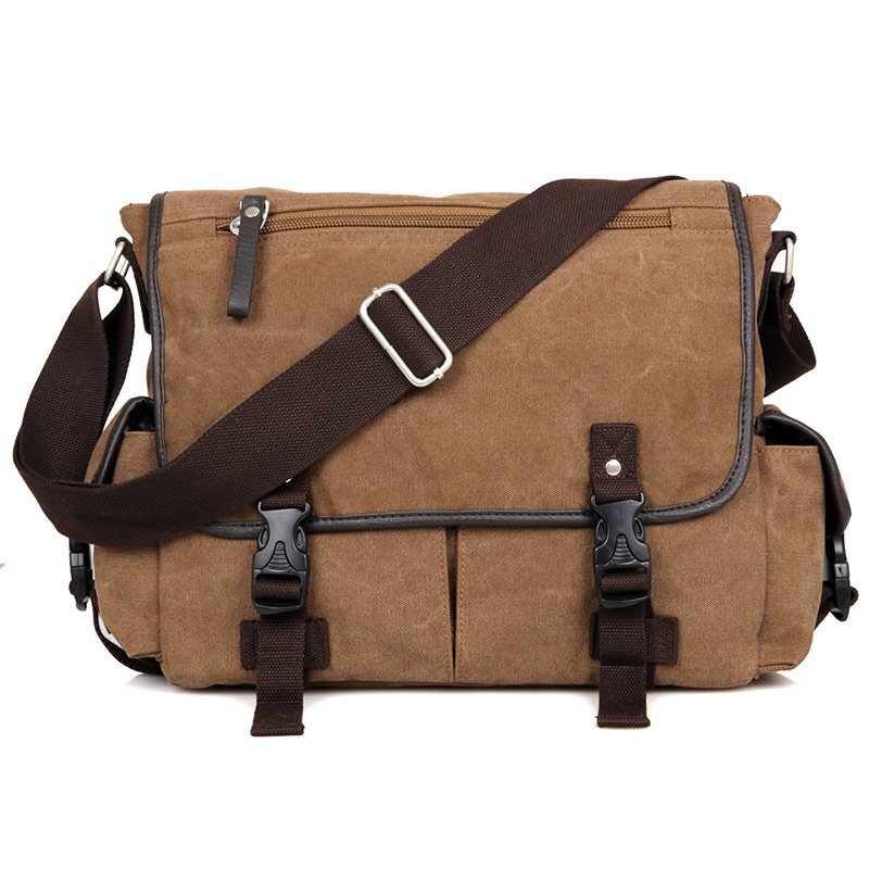 9035C Coffee Durable Leisure Canvas Outdoor Laptop Messenger Bags