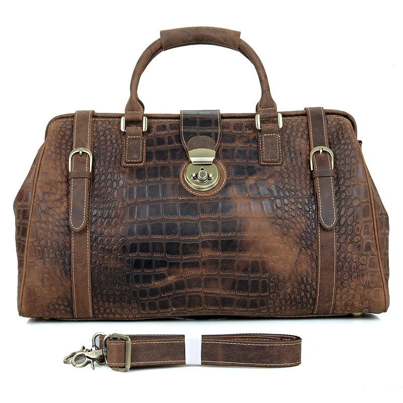 7281B Brown Unique Pattern Design Vintage Genuine Cow Leather Locked Duffle Bag