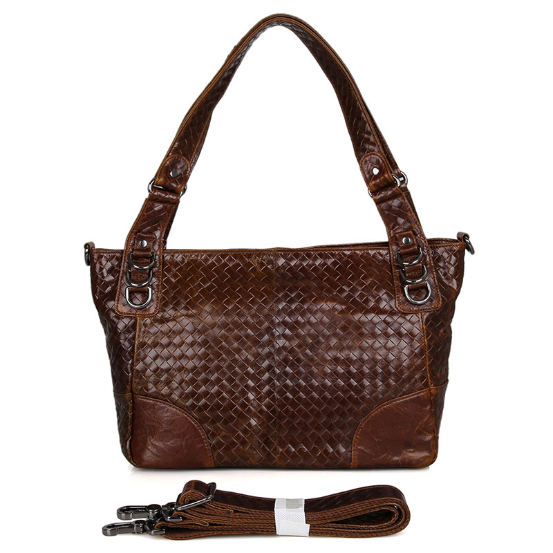 7262C-1 Vintage Woven Leather Shopper Shoulder Tote Bag Leather Women Bag
