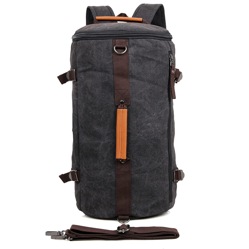 9036A Black Durable Canvas Backpack Handbag Should Bag for Travel