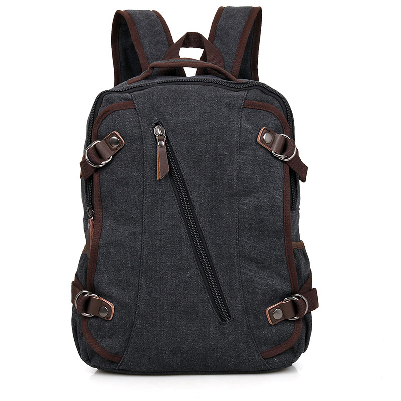 9037A Black Excellent Quality Canvas Durable School Backpack for Young