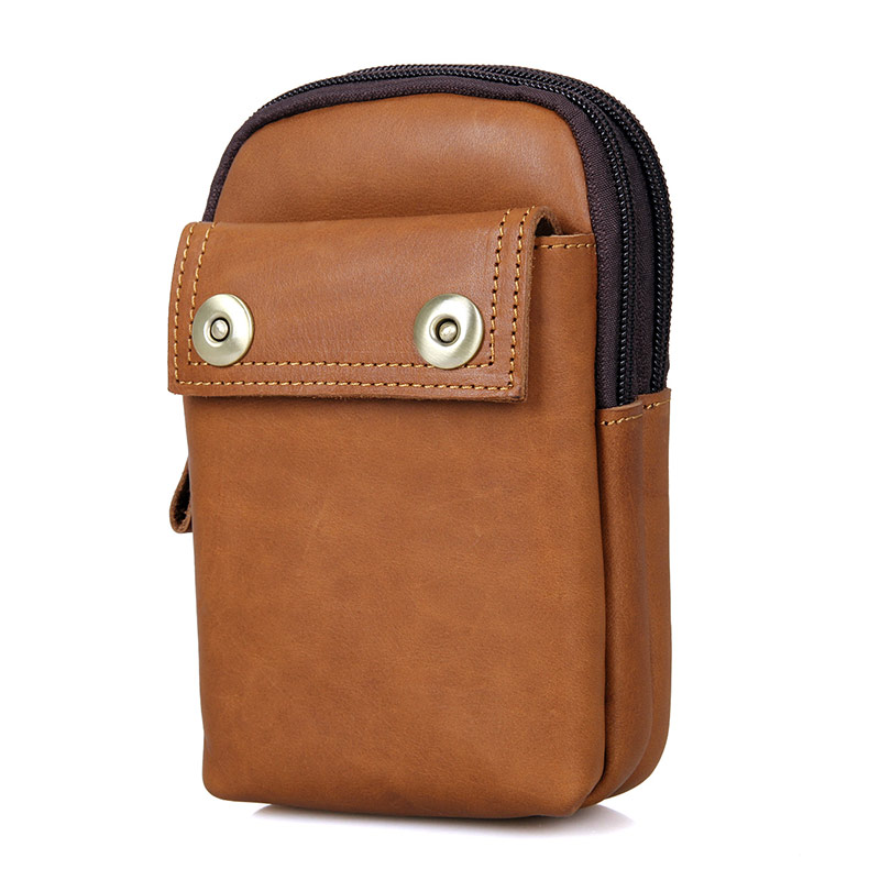 5001B-1 Light Brown Cowhide Men's Phone Case Bag Belt Bag