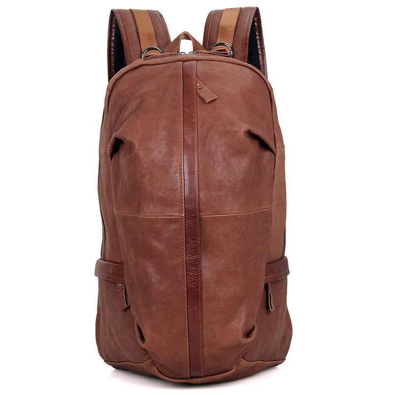 7340B Bright Brown JMD Brand Real Leather Mountain Backpack for Trip