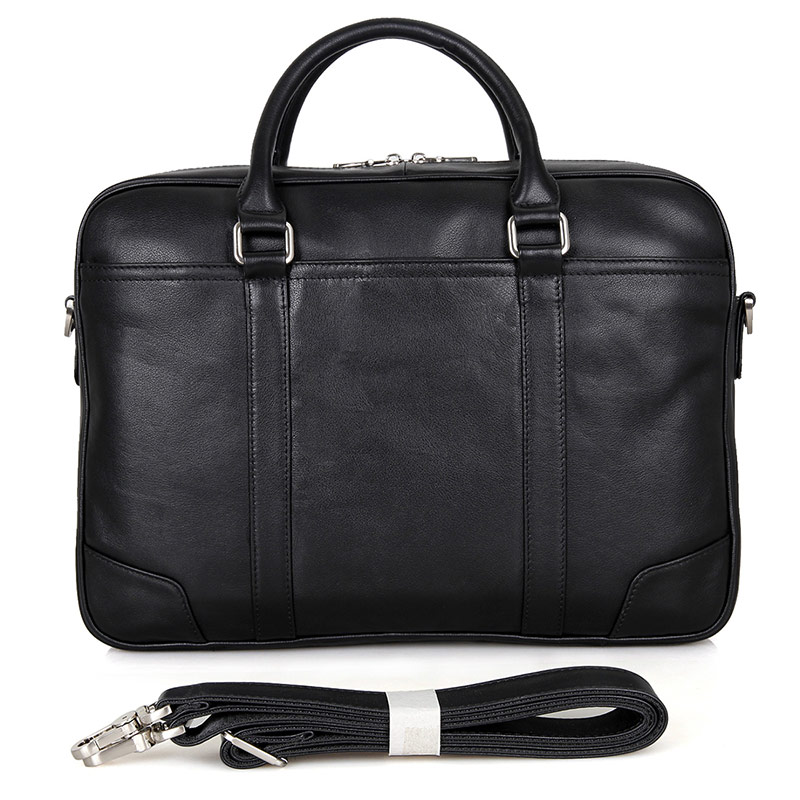 7349A Brand High Quality Black Real Leather Laptop Office Briefcase for Men China