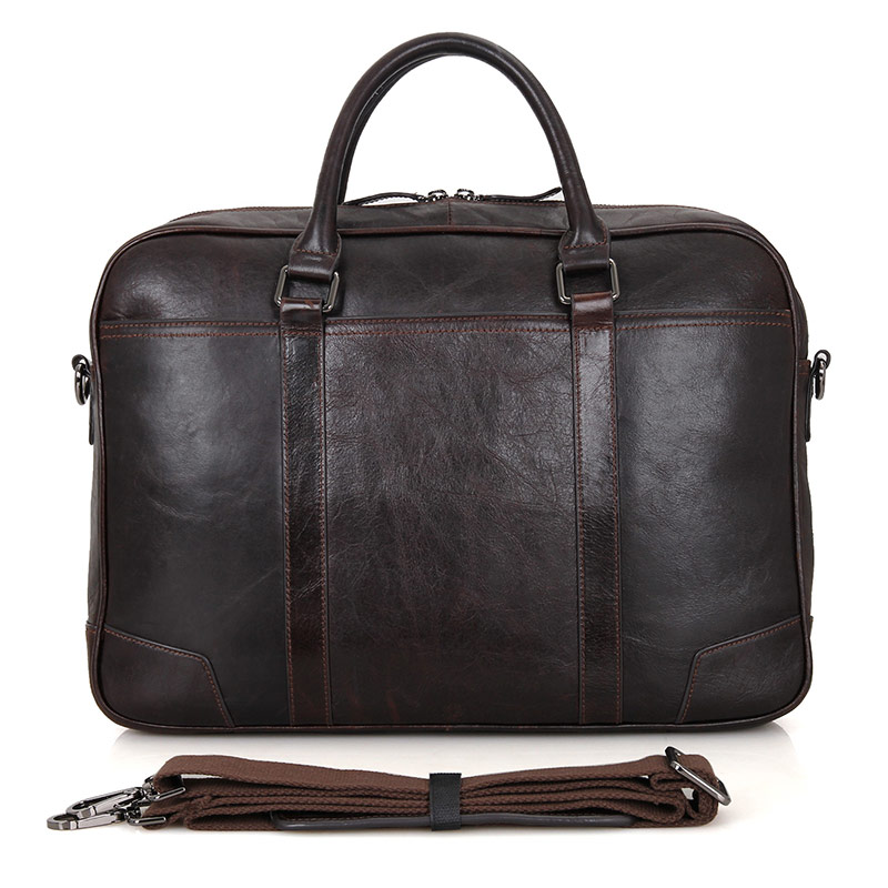 7349Q 100% Genuine Vintage Leather Men's Chocolate Briefcase Laptop Bag Mens Office Busiess Bag