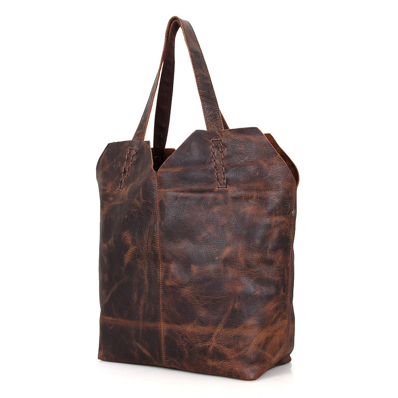 C007Q Simple Style Crazy Horse Leather Designer Ladies Tote Bag Supplier