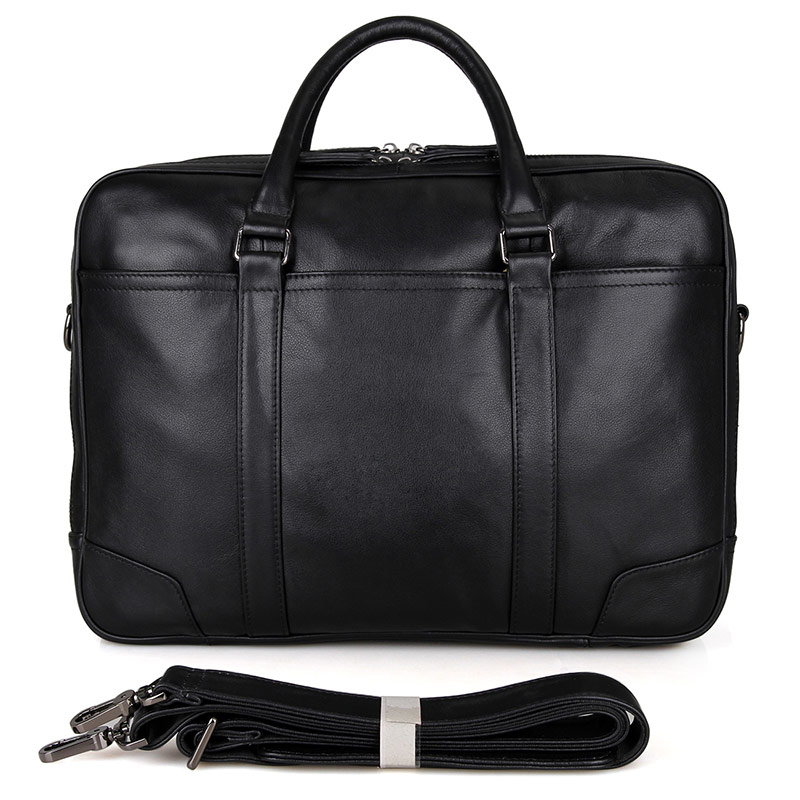 7348A Full Grain Leather Men's Laptop Bag Handbag Black Computer Briefcase