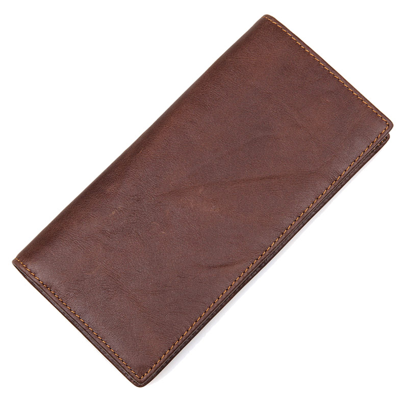8030C-1 Vintage Leather Long Style Brown Wallet ID Card Holder for Men Chinese Supplier