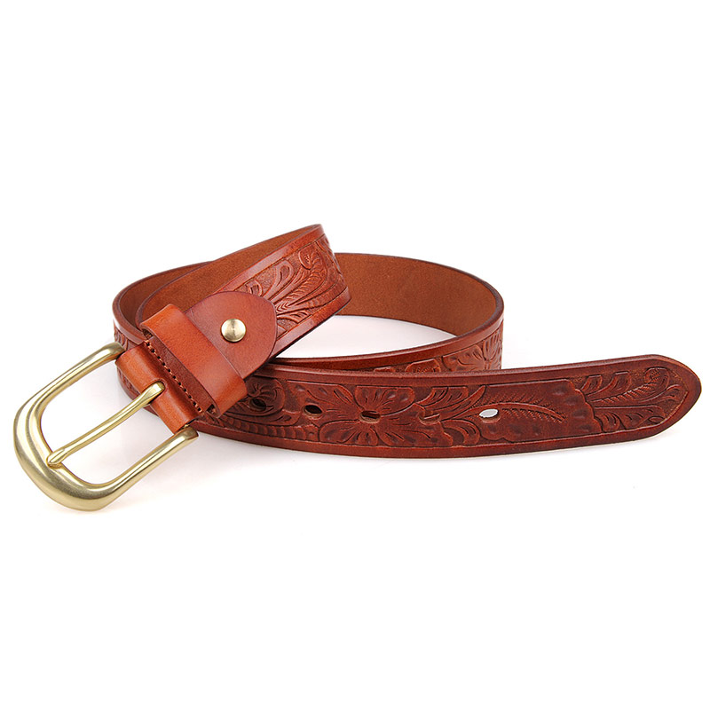 B011B-1 Italy Durable Vegetable Leather Brown Men Belt with 3.5 Width