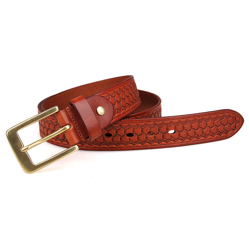 B009B-1 Scales Pattern Vegetable Leather Brown Fashion Adjusted Length Belt