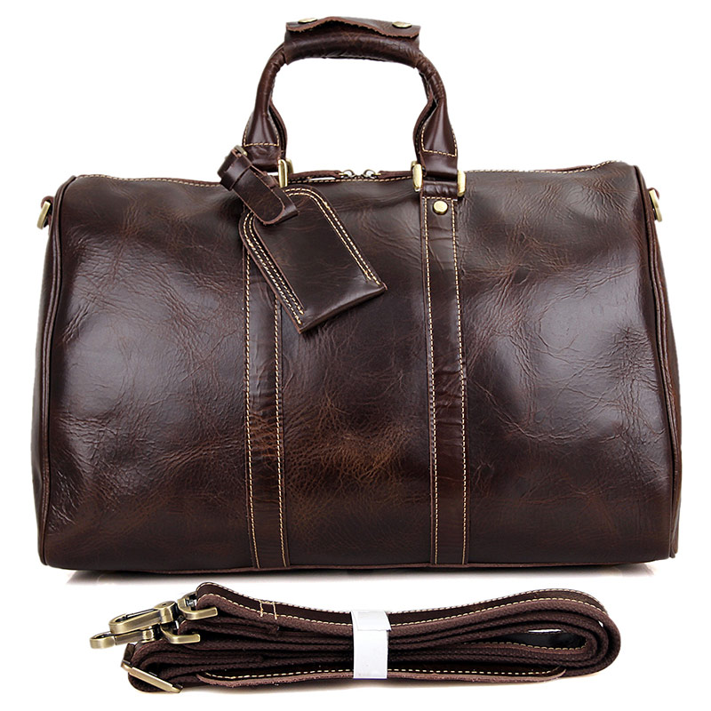 "7077C Unisex Coffee Color Genuine Leather 16"" Inches Laptop Travel Duffle Bag"