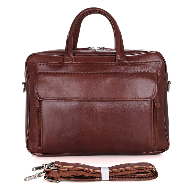 7333B-1 New Arrival Guarantee Genuine Cow Leather Men's Briefcase Handbag Bright Brown Laptop Bag