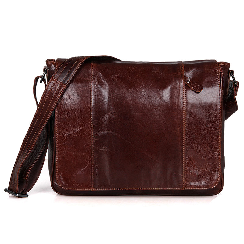 7338B Vintage Cow Leather Brown Men Sling Bag for Young