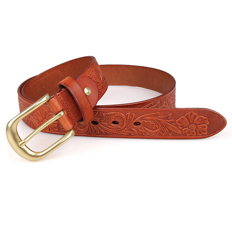 B012B-1 Trendy Unisex Dressed Belt Bright Brown Leather Belt Manufacturer