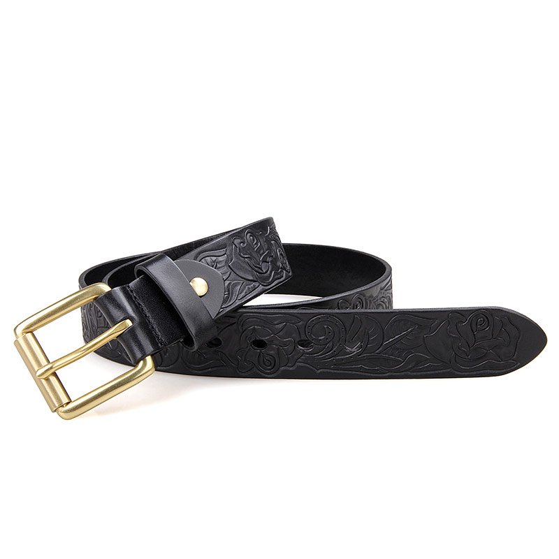 B013A-1 New Products 2017 Innovative Western Style Buckle Belt in Black Matter Genuine Leather