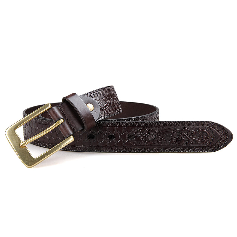B001Q-1 Hot Wholesale Fashional Basic Men Belt with Big Old Brass Buckles