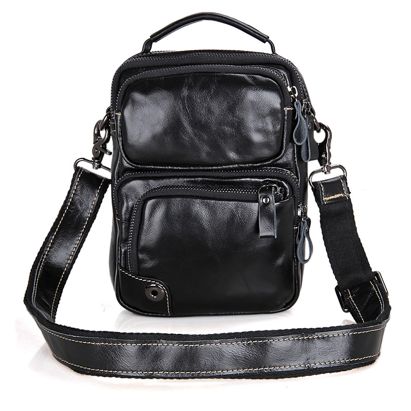 1010A 100% Genuine Leather Cowhid Leather Black Men's Small Sling Bag for Ipad