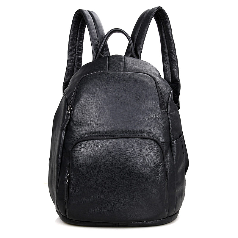 2005A Black Cowhide Leather School Backpack for Young Travel Bag