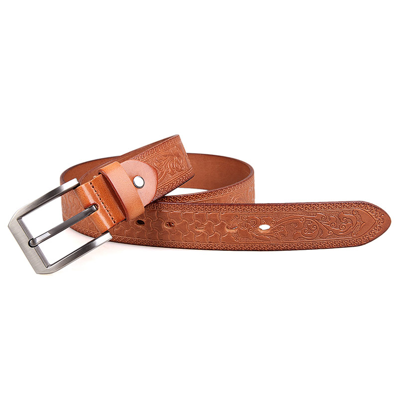B001B-2 Wholesale Brown Fashionable Vegetable Leather Belt for Mens