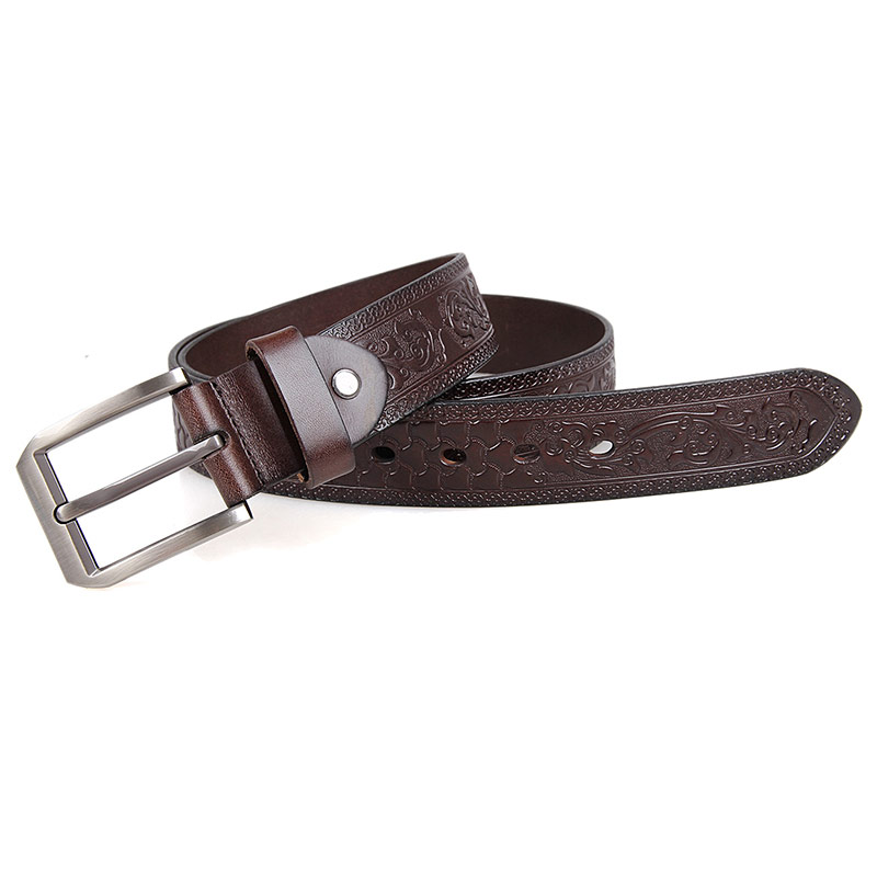 B001Q-2 Factory Price Fashional Basic Men Belt with Big Old Brass Buckles