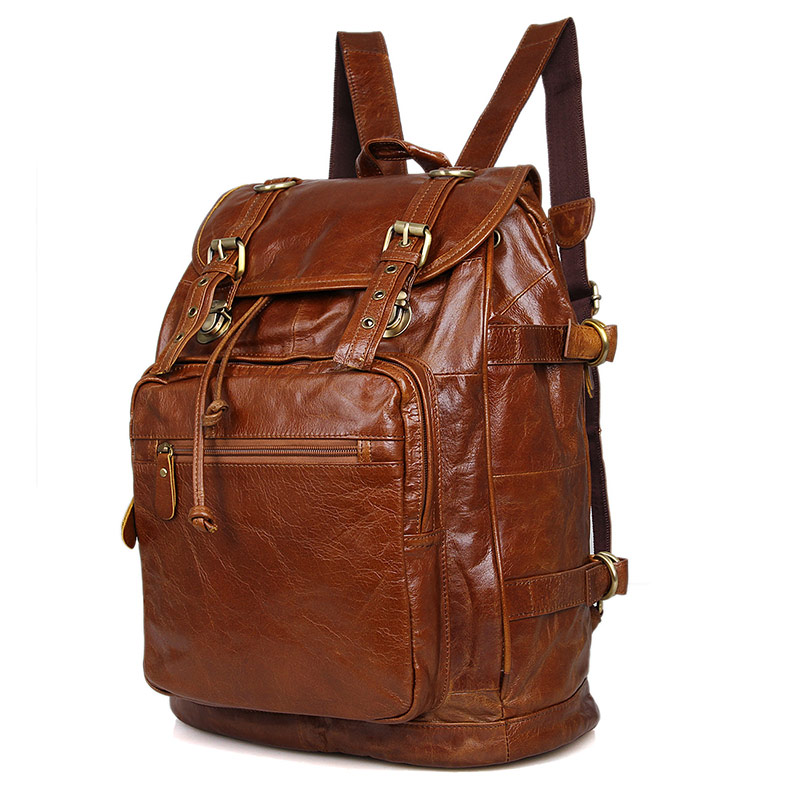 6085B Vintage Leather Style Men's Coffee Backpack Handbag Travel Bag HOBO