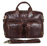 7026Q Chocolate Genuine Vintage Leather Men's Briefcase Backpack