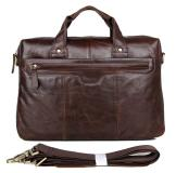 7075LC Classic Vintage Leather Men's Chocolate Hand Tiny Laptop Bag Briefcase Messenger