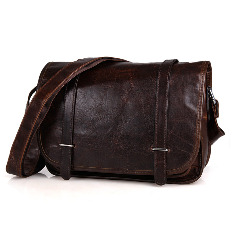 3118C Cowboy Vintage Leather Unisex Chocolat Shoulder Messenger Bag
