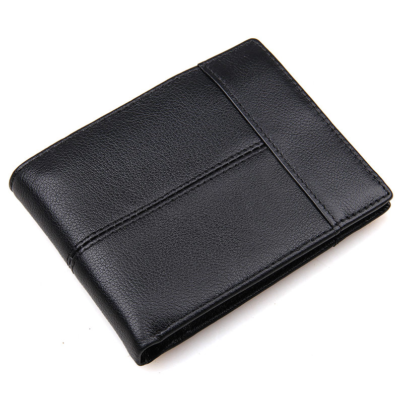 8145A Hot Selling Genuine Cowhide Leather Black Wallet for Men