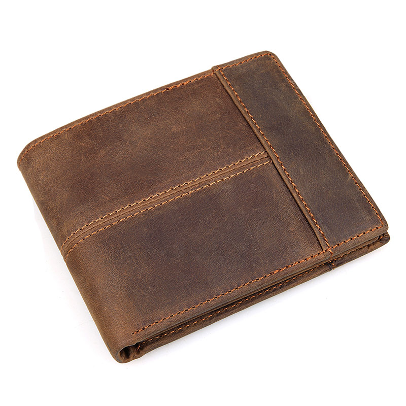 8145R Crazy Horse Leather Tan Leather Bifold Wallet