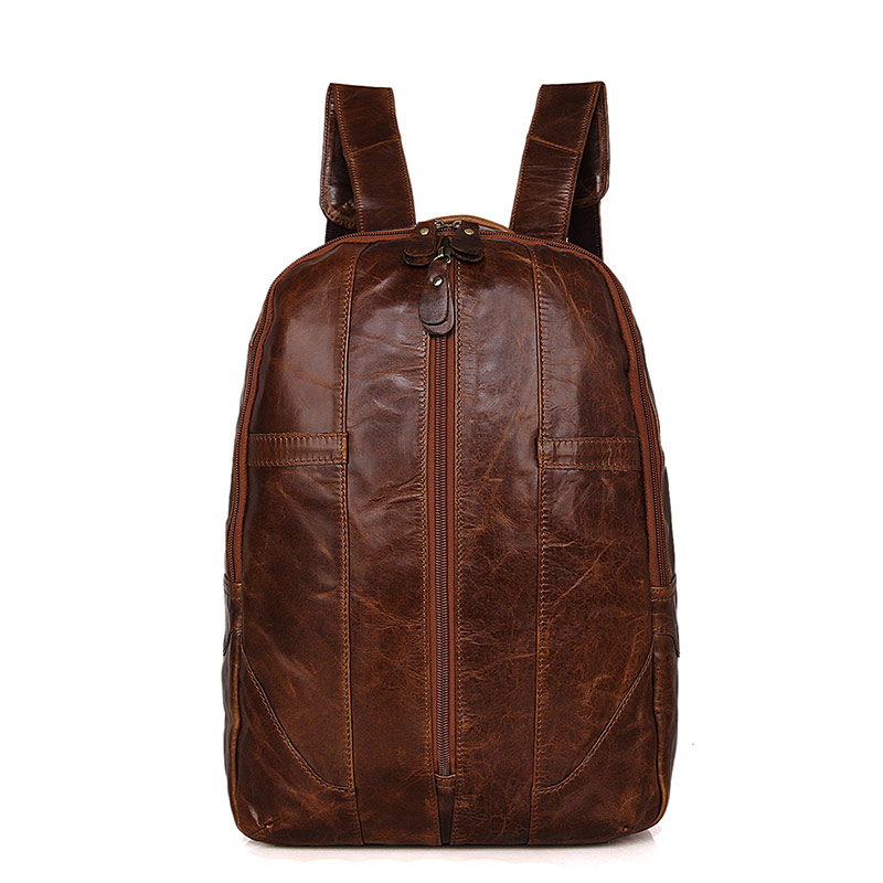7244B Mens Soft Genuine Leather Backpack Simple Design 2015